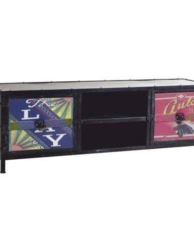 TV stolík/skrinka čierna/farebný mix IMAGE