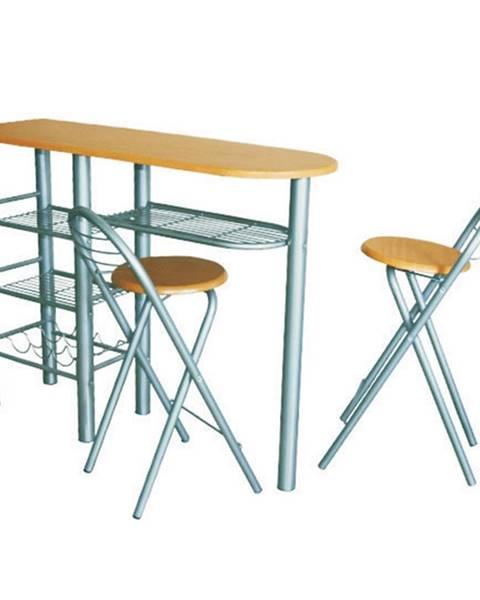 Tempo Kondela Komplet barový stôl + 2 stoličky buk BOXER