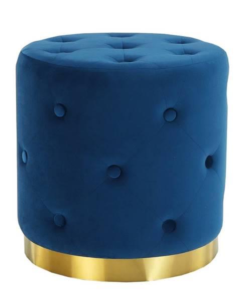Kondela Taburet kráľovská modrá Velvet látka/zlatý náter LEONID