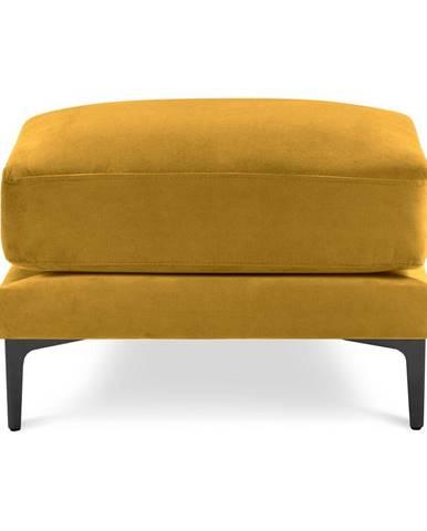 Žltá zamatová podnožka Kooko Home Harmony