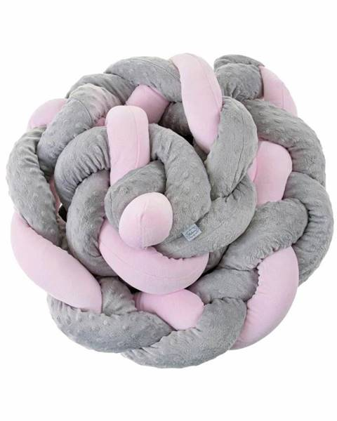 4Home Mantinel do postieľky vrkoč Belisima sivo ružový
