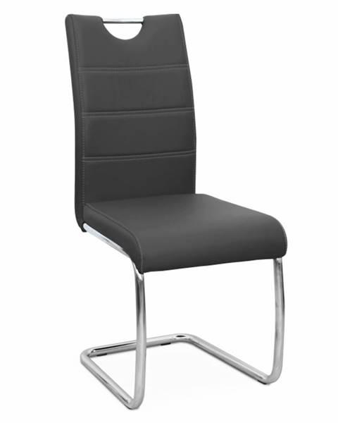 Tempo Kondela Jedálenská stolička čierna/svetlé šitie ABIRA NEW