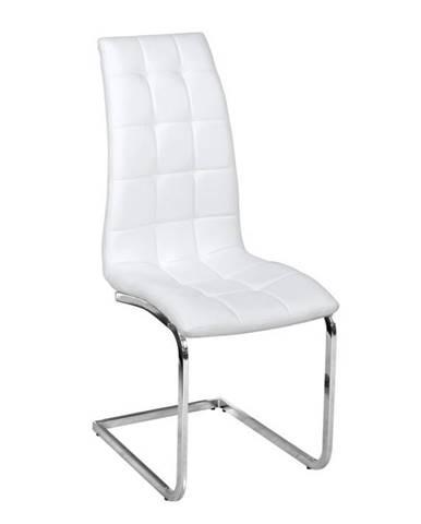 Jedálenská stolička biela ekokoža chróm DULCIA