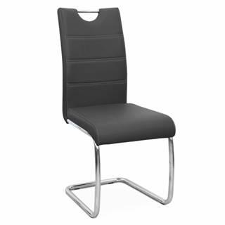Jedálenská stolička čierna/svetlé šitie ABIRA NEW