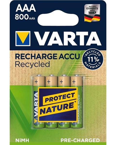 Varta Batéria nabíjacie Varta Recycled HR03, AAA, 800mAh, Ni-MH, blistr