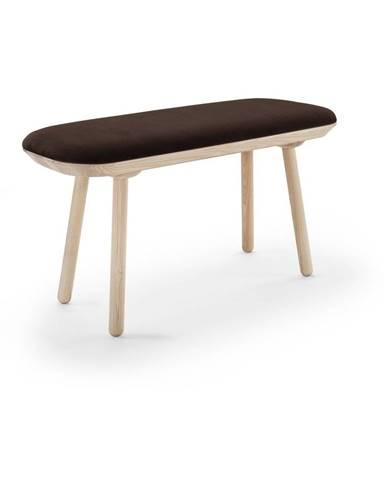 Hnedá zamatová lavica EMKO Naïve, 100 cm