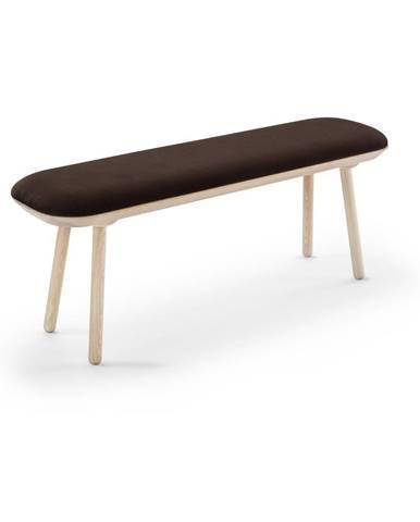 Hnedá zamatová lavica EMKO Naïve, 140 cm