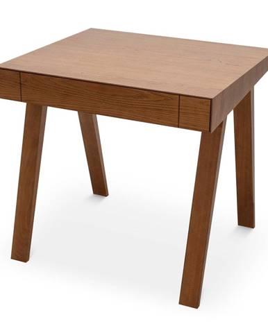 Hnedý stôl s nohami z jaseňového dreva EMKO, 80 x 70 cm