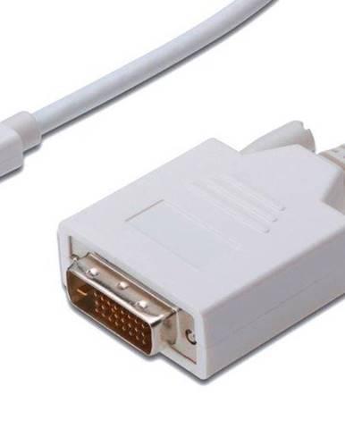 Kábel PremiumCord Mini DisplayPort / DVI, M/M, 3m biely