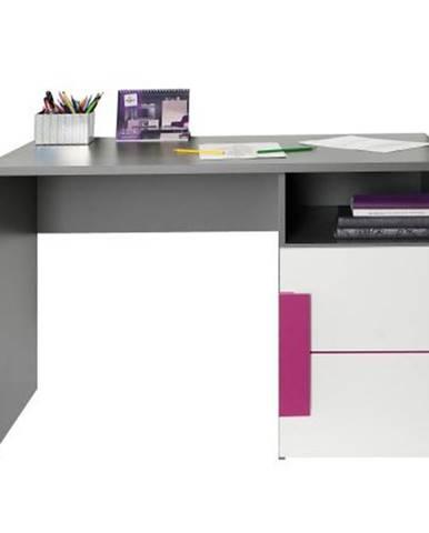 PC stôl sivá/biela/fialová LOBETE 21