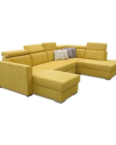 Luxusná sedacia súprava žltá/hnedé vankúšiky pravá MARIETA U