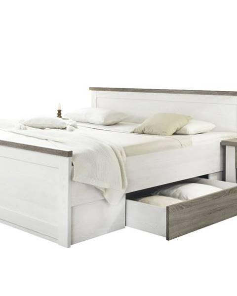 Sconto Posteľ s nočnými stolíkmi PARVATI biela, 180x200 cm