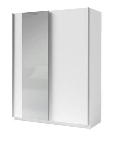 Sconto Šatníková skriňa so zrkadlom SPLIT biela, šírka 180 cm