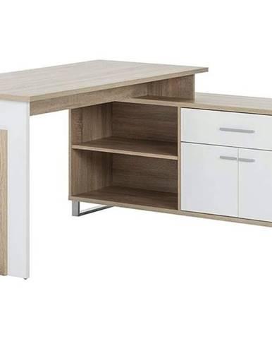 Rohový písací stôl MANAGER dub sonoma/biela
