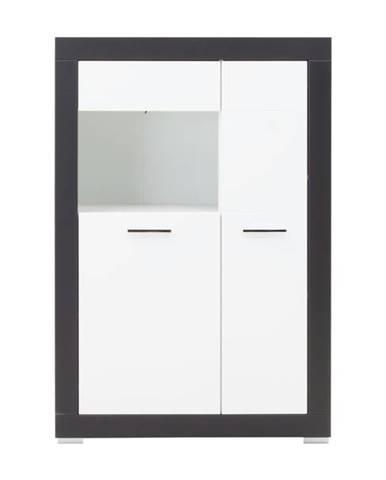 Vitrína WHITNEY GREY 2 biela/sivá