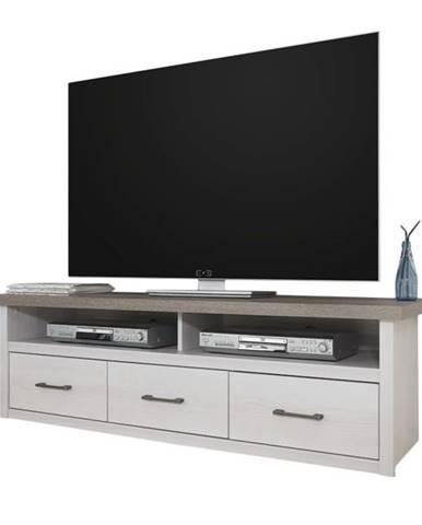 TV stolík PARVATI pínia biela/dub truffel