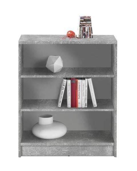 Sconto Regál/knižnica OPTIMUS 35-002 betón/biela