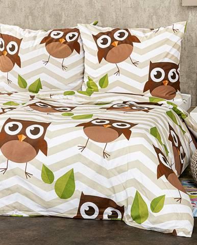 4Home Bavlnené obliečky Sovy hnedá, 160 x 200 cm, 70 x 80 cm
