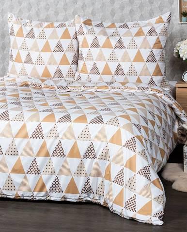 4Home Obliečky Triangel béžová micro, 160 x 200 cm, 2 ks 70 x 80 cm
